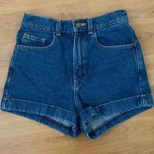 AA denim high waist cuff shorts